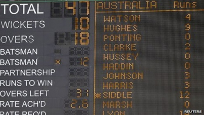 Aussies routed for 47 by South Africa as 23 wickets fall