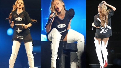Rihanna proves worth waiting for in thigh high white boots