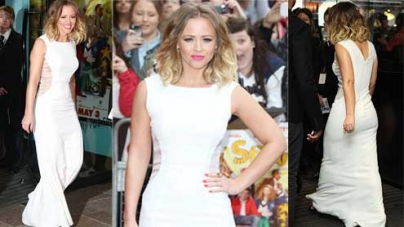 Kimberley Walsh wears dazzling white gown at All Stars 3D UK premiere