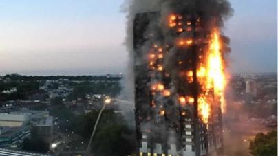 Fire Engulfs Tower Block In West London
