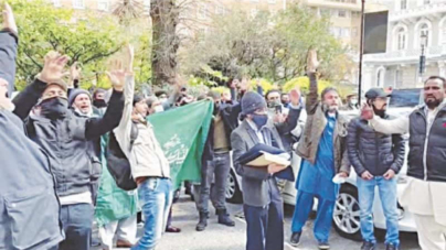 TLP protests outside mission in London
