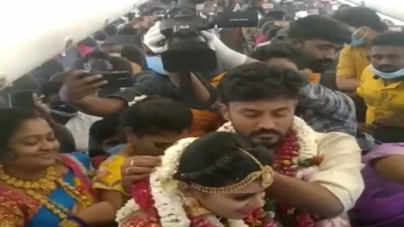 Indian couple holds mid-air wedding 'to escape Covid restrictions'